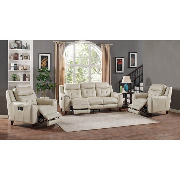 Hydeline By Amax Paramount 3 Pieces Top Grain Leather Power Reclining Cream  Sofa Set