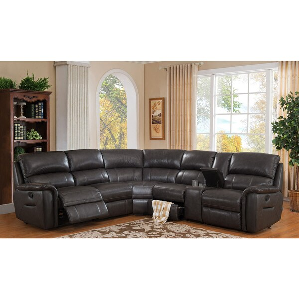 grey leather recliner. Hydeline By Amax Camino Charcoal Grey Leather Reclining Sectional Sofa Recliner