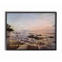 Stupell 'My Heart Is Still at the Beach' Framed Giclee Texturized Art