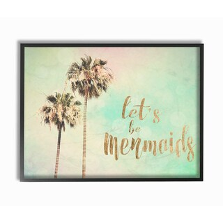 'Lets Be Mermaids' Palm Trees Framed Giclee Texturized Art