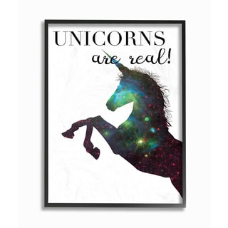 Stupell 'Unicorns Are Real' Galaxy Print Framed Giclee Texturized Art