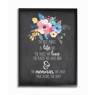 'The Best Things in Life' Watercolor Floral Framed Giclee Texturized Art