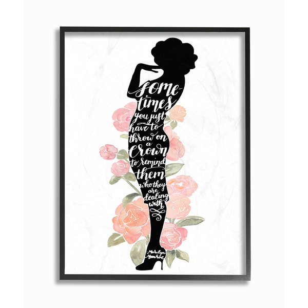 Stupell 'Iconic Silhouette Watercolor Roses Marilyn' Framed Giclee Texturized Art