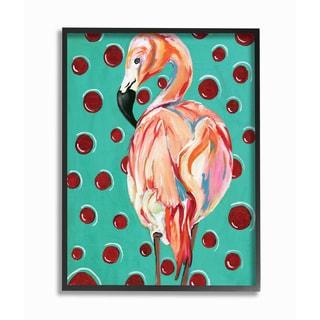 Stupell 'Red Polka Dot Flamingo' Framed Giclee Texturized Art