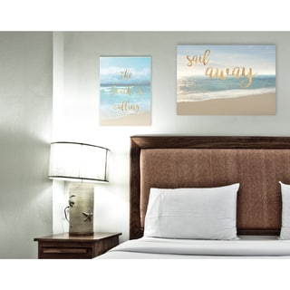 Stupell 'The Beach Is Calling' Gold Typography Stretched Canvas Wall Art