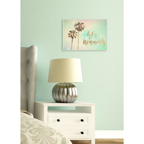 'Let's Be Mermaids' Canvas Palm Trees Stretched Wall Art
