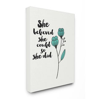 Stupell 'She Believed She Could So She Did' Blossom Stretched Canvas Wall Art