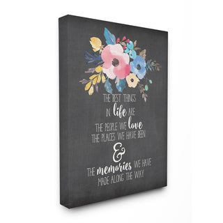 Stupell 'The Best Things in Life' Watercolor Floral Stretched Canvas Wall Art - Black