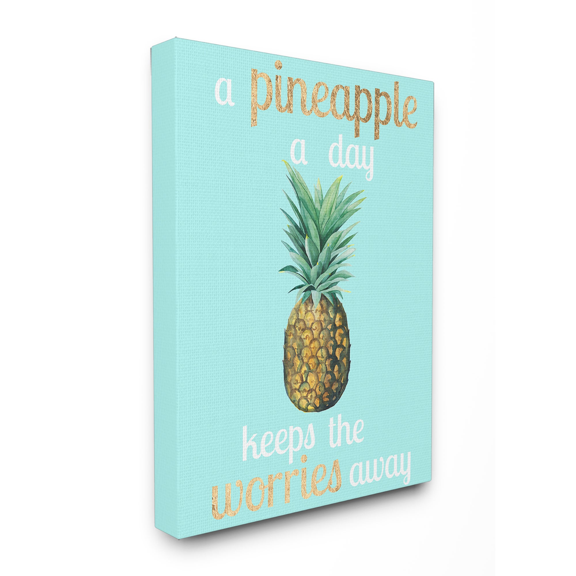Stupell A Pineapple A Day Keeps The Worries Away Stretched Canvas Wall Art Overstock 14660904 16 X 20