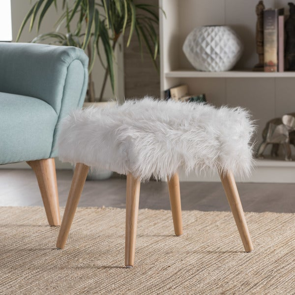 Shop Huxley Faux Fur Ottoman Stool By Christopher Knight