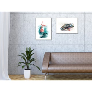 Stupell Flamingo Duo Watercolor Texture Stretched Canvas Wall Art
