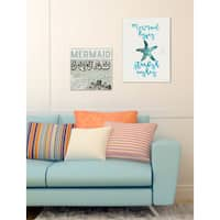 'Mermaid Kisses Starfish Wishes' Canvas Stretched Wall Art