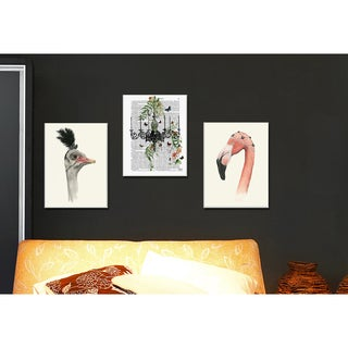 'Downton Animals Flamingo Mary' Canvas Stretched Wall Art