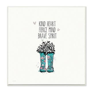 Stupell 'Kind Fierce Brave Rainboots with Flowers' Wall Plaque Art