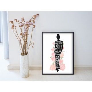 Iconic Silhouette 'Roses Audrey' Watercolor Wall Plaque Art