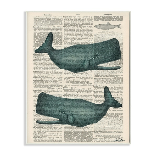 Stupell 'Classic Novel Whales' Wall Plaque Art