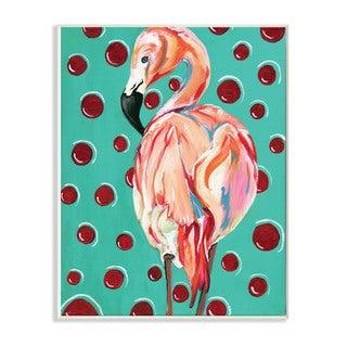 Stupell Red Polka Dot Flamingo Wall Plaque Art