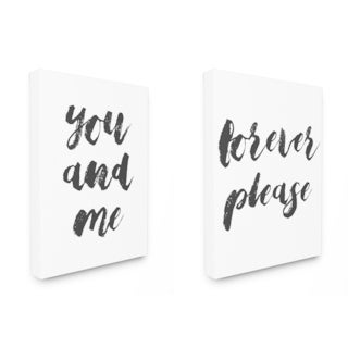 Stupell 'You and Me Forever Please' Typography 2-piece Stretched Canvas Wall Art Set