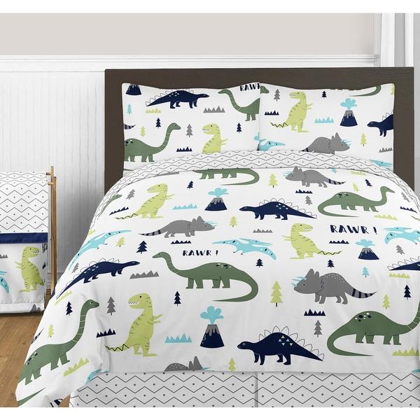 Sweet JoJo Designs Blue and Green Mod Dinosaur Collection Full/Queen 3-piece Bedding Set
