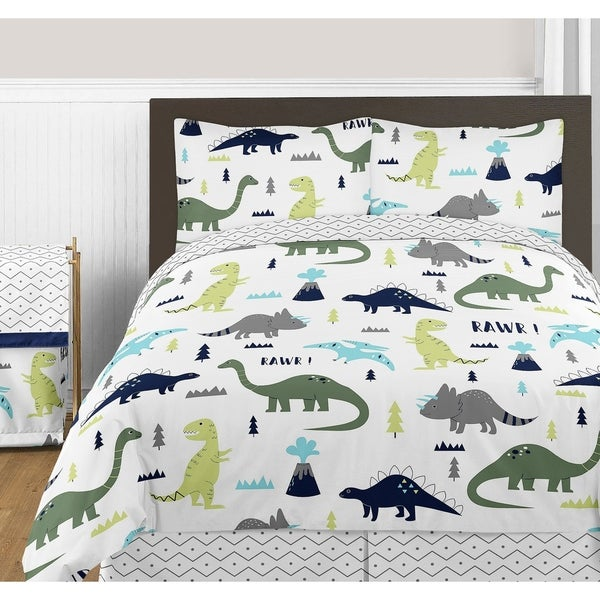 Sweet JoJo Designs Blue and Green Mod Dinosaur Collection Full/Queen 3-piece Bedding Set. Opens flyout.