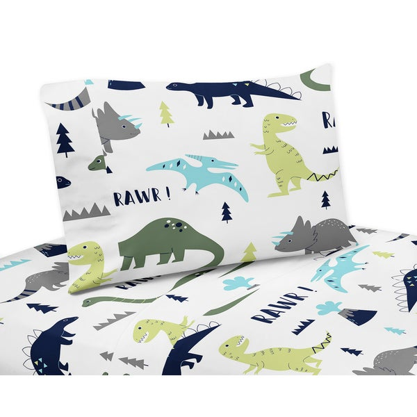 Blue and Green Mod Dinosaur Collection Twin and Queen Sheet Sets by Sweet Jojo Designs