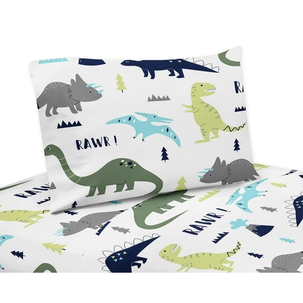 lovely Dinosaur Sheet Set Queen Part - 10: Blue and Green Mod Dinosaur Collection Twin and Queen Sheet Sets by Sweet  Jojo Designs