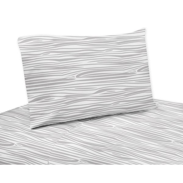 Grey and White Stag Collection Wood Grain Print Twin and Queen Sheet Sets by Sweet Jojo Designs