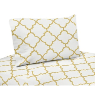 White and Gold Trellis Collection Twin, Queen and King Sheet Sets by Sweet Jojo Designs