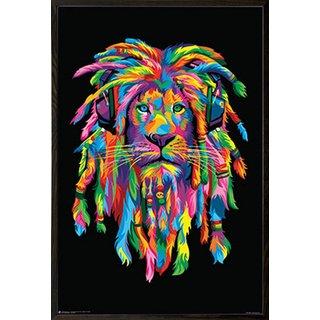 'Lion Rasta' Walnut Wood Architect Frame 24x36 Poster