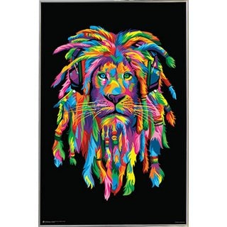 Lion Rasta 24-inches x 36-inches Poster with Silvertone Metal Frame