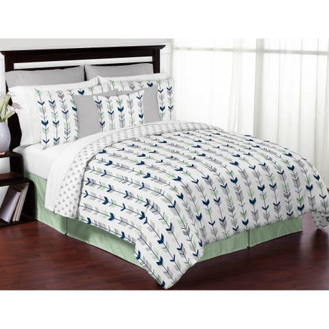 Sweet Jojo Designs Grey and Mint Mod Arrow Collection Full/Queen 3-piece Bedding Set