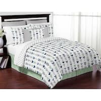Sweet Jojo Designs Grey and Mint Mod Arrow Collection Full/Queen 3-piece Bedding Set