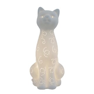 Simple Designs Porcelain Kitty Cat Shaped Animal Light Table Lamp