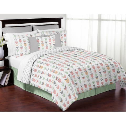 Sweet Jojo Designs Coral and Mint Mod Arrow Collection Full/Queen 3-piece Comforter Set