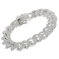 """Sterling Silver  15.5mm Cubic Zirconia Miami Cuban Curb Link Iced Out Bling Bracelet 8.5"""""""
