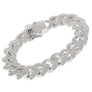 Sterling Silver 15.5mm Iced Out CZ Miami Cuban Solid 925 Rhodium Bling Bracelet Chain 8.5""