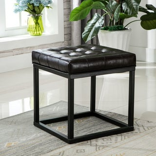 Porthos Home Pearle Square Polyurethane Leather Ottoman