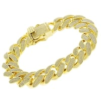 Yellow Goldplated Sterling Silver Cubic Zirconia Iced Out Miami Cuban Curb Link  Bling Bracelet