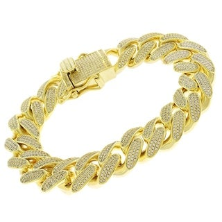 """Sterling Silver 15.5mm Iced Out CZ Miami Cuban Solid 925 Yellow Gold Bling Bracelet Chain 8.5"""""""