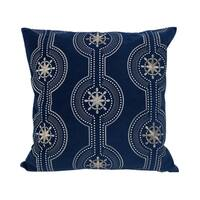 Home Accent Pillows Blue Velvet with Shimmery Silver Embroidery 20-inch x 20-inch Throw Pillow