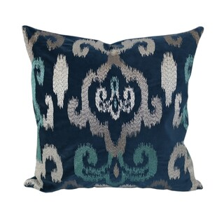 Home Accent Pillows Blue Velvet Shimmery Silver and Teal Embroidery 20-inch x 20-inch Throw Pillow