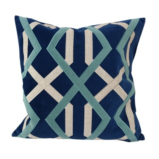 Home Accent Pillows Blue Poly Velvet With Poly Linen Applique 20-inch x 20-inch Throw Pillow