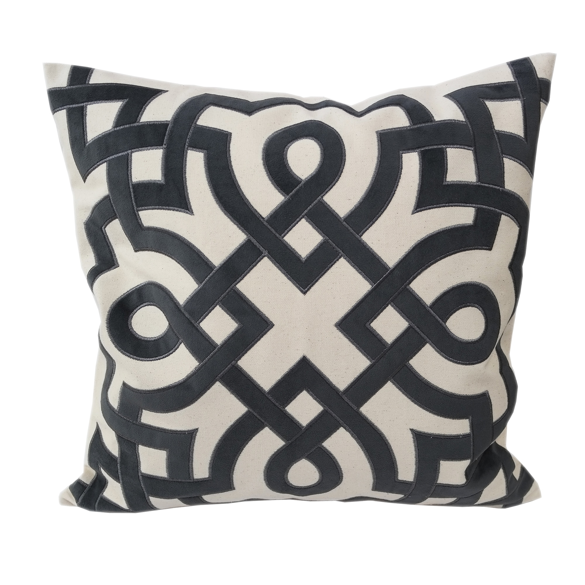 Home Accent Pillows Natural And Grey Geometric Applique Embroidered Poly Linen 20 Inch Throw Pillow Overstock 14662135