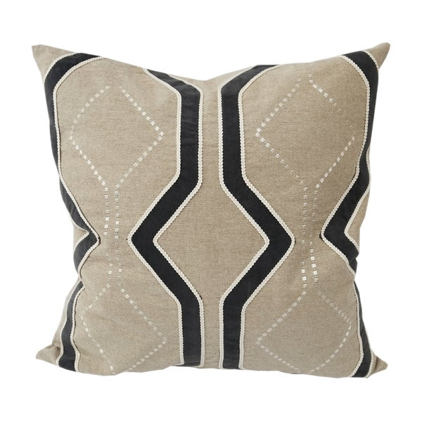 Embroidered Natural and Grey Poly Linen Connors Throw Pillow by Home Accent Pillows
