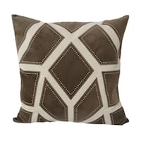 Home Accent Pillows 20-inch Brown and Tan Applique Embroidered Poly Linen Throw Pillow