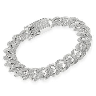 .925 Sterling Silver Cubic Zirconia Miami Cuban Curb Link Iced Out Bling Bracelet