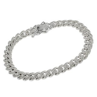 Sterling Silver Cubic Zirconia Iced Out Bling Miami Cuban Curb Link Bracelet