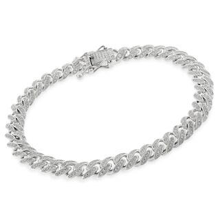 """Sterling Silver 8.5mm Iced Out CZ Miami Cuban Solid 925 Rhodium Bling Bracelet Chain 9"""""""