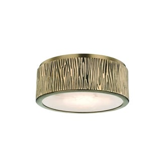 Hudson Valley Crispin LED Aged Brass Faux Bois Small Round Flush Mount