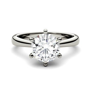 Charles & Colvard 14k White Gold 1 9/10ct DEW Forever One Round Colorless Moissanite Solitaire Ring
